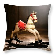 The Happy Little Rocking Horse In The Attic Throw Pillow