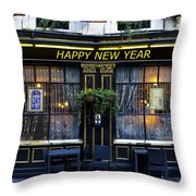 The Happy New Year Pub Throw Pillow