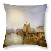 The Harbor Of Dieppe Throw Pillow