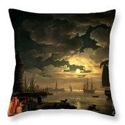 The Harbor Of Palermo Throw Pillow by Claude Joseph Vernet