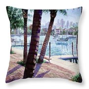 The Harbor Palms Throw Pillow