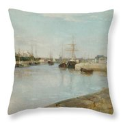 The Harbour At Lorient Throw Pillow