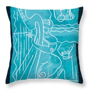 The Harp Player Throw Pillow