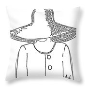 The Hat Lady - Digital Sketch Throw Pillow