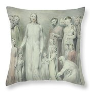 The Healing Of The Woman With An Issue Of Blood Throw Pillow by William Blake