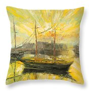 The Heraklion Harbour Throw Pillow