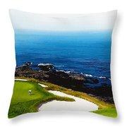 The Hole 7 At Pebble Beach Golf Links Throw Pillow