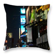 The Holidays In Time Square Throw Pillow