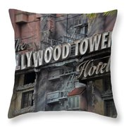 The Hollywood Hotel Signage Throw Pillow