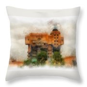 The Hollywood Tower Hotel Disneyland Photo Art 01 Throw Pillow