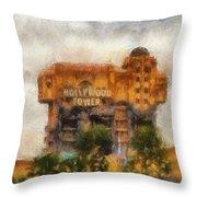 The Hollywood Tower Hotel Disneyland Photo Art 02 Throw Pillow