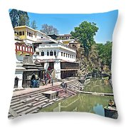 The Holy Bagwati River In Kathmandu-nepal- Throw Pillow