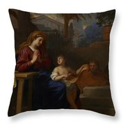 The Holy Family In Egypt Throw Pillow by Charles Le Brun
