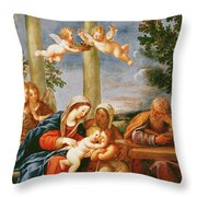 The Holy Family With St. Elizabeth And St. John The Baptist, C.1645-50 Oil On Copper Throw Pillow
