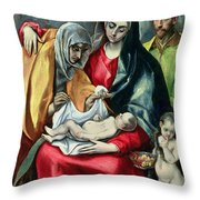 The Holy Family With St Elizabeth Throw Pillow