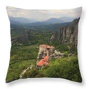The Holy Monastery Of Rousanou Meteora Greece  Throw Pillow