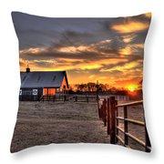 The Horse Barn Sunset Throw Pillow