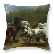 The Horse Fair Throw Pillow