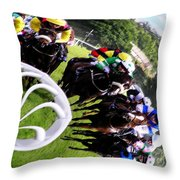 The Horse Race Throw Pillow