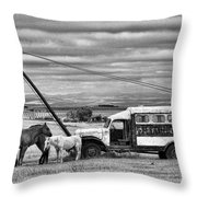 The Horses And The Welding Truck Throw Pillow