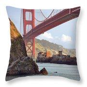 The House Below The Golden Gate Bridge Throw Pillow