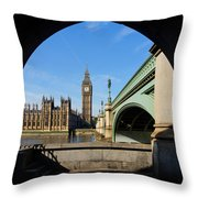 The Houses Of Parliament In London Throw Pillow