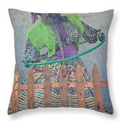 The Hula Hoop Witch Throw Pillow