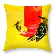 The Humming Bird And Gila Woodpecker Throw Pillow