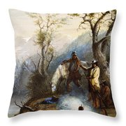 The Hump Rib Throw Pillow by Alfred Jacob Miller
