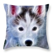 The Huskie Pup Throw Pillow by Bill Cannon