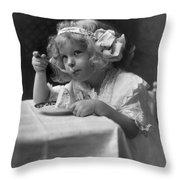 The Ice Cream Girl Throw Pillow