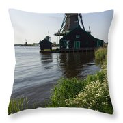 The Iconic Windmills Of  Holland  Throw Pillow