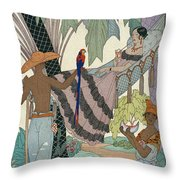 The Idle Beauty Throw Pillow by Georges Barbier