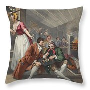 The Idle Prentice Betrayed Throw Pillow by William Hogarth