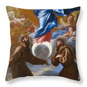 The Immaculate Conception With Saints Francis Of Assisi And Anthony Of Padua Throw Pillow