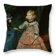 The Infanta Margarita Teresa Of Spain In A Red Dress, 1653 Oil On Canvas Throw Pillow