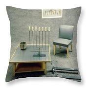 The Interior Design Of A Gray Living Room Throw Pillow