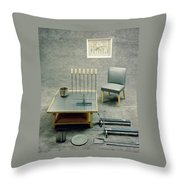 The Interior Design Of A Gray Living Room Throw Pillow