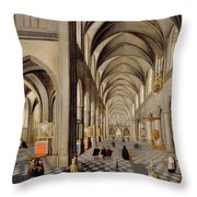 The Interior Of A Gothic Church Throw Pillow by Hendrik the Younger Steenwyck