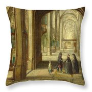 The Interior Of A Gothic Church Looking East Throw Pillow