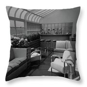 The Interior Of A Rooftop Terrace Throw Pillow