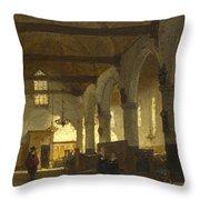 The Interior Of The Bakenesserkerk. Haarlem Throw Pillow