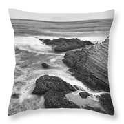 The Jagged Rocks And Cliffs Of Montana De Oro State Park In California In Black And White Throw Pillow