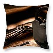 The Jailer Lock Throw Pillow by Olivier Le Queinec