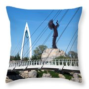 The Keeper Of The Plains In Wichita Throw Pillow