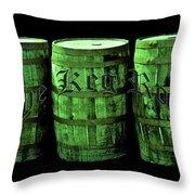 The Keg Room 3 Green Barrels Old English Hunter Green Throw Pillow