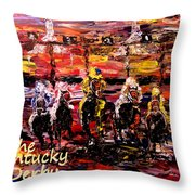 The Kentucky Derby - And They're Off Without Year  Throw Pillow