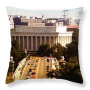The Key Bridge And Lincoln Memorial Throw Pillow