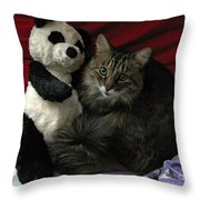 The King Kitty And Panda 01 Throw Pillow