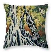 The Kirifuri Waterfall Throw Pillow by Hokusai